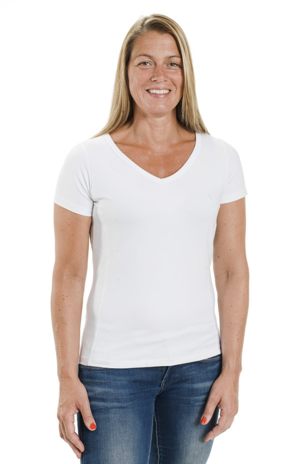 Ladies White V Neck T Shirt